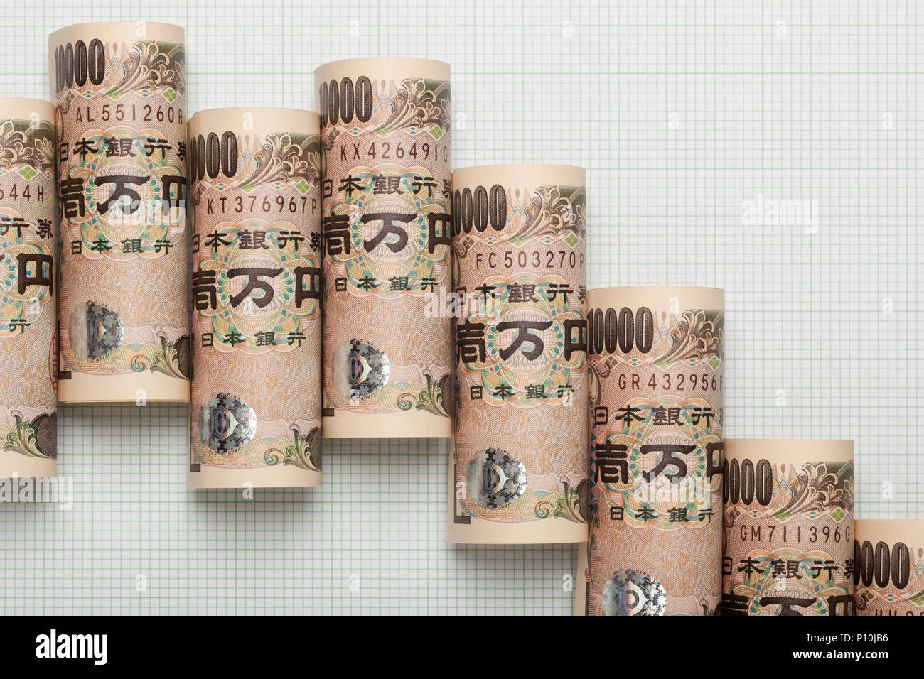 Japanese Yen forming an downtrend graph - Stock Image