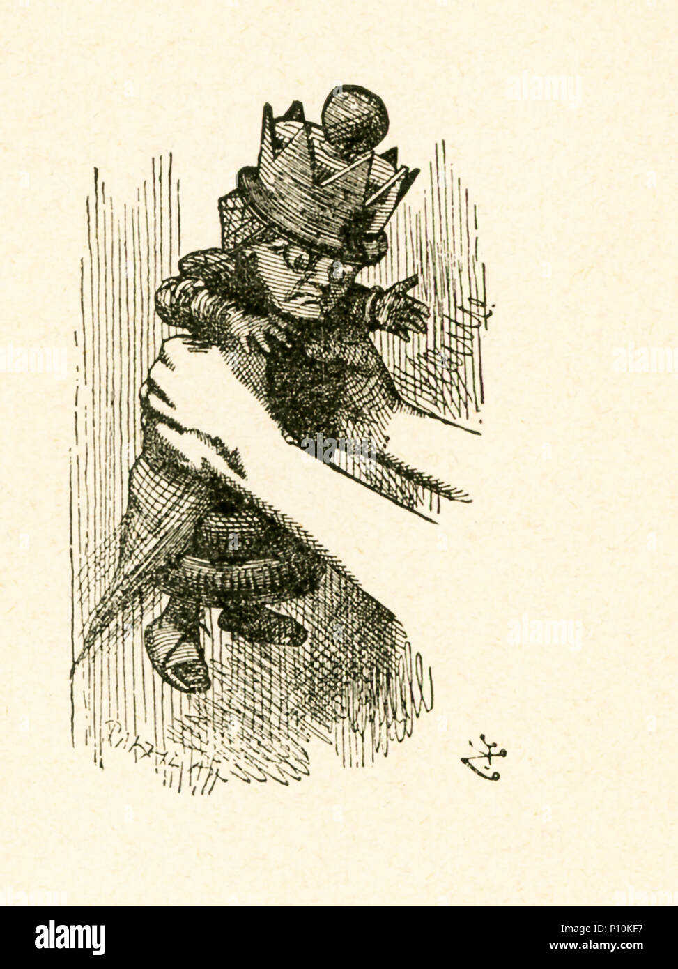 This illustration of Alice holding the Red Queen is from 'Through the Looking-Glass and What Alice Found There' by Lewis Carroll (Charles Lutwidge Dodgson), who wrote this novel in 1871 as a sequel to 'Alice's Adventures in Wonderland.' - Stock Image
