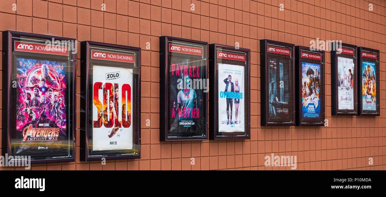 Hickory Nc Usa 6 June 18 Posters Advertising Movies Showing In A Local Amc Movie Theater Stock Photo Alamy