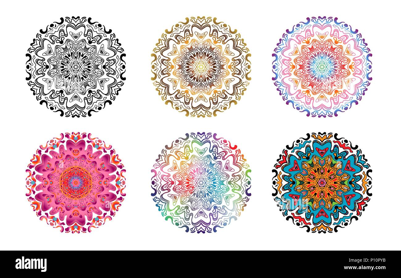 Set of Flower Mandala. Vintage decorative elements. Oriental pattern ...