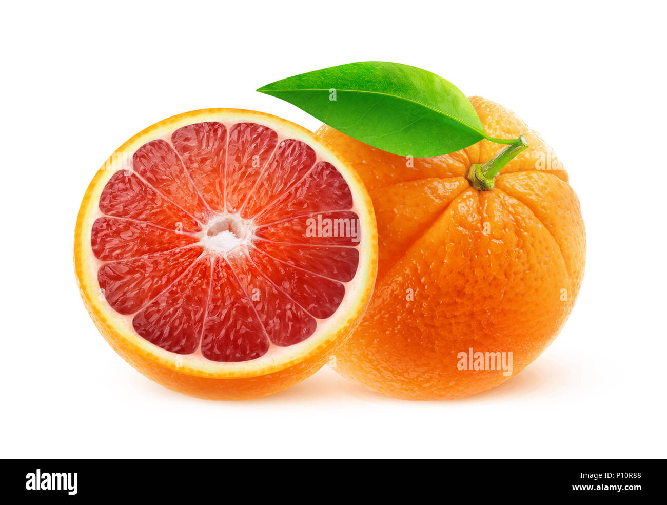 Isolated fruits. One and half blood oranges isolated on white background with clipping path - Stock Image
