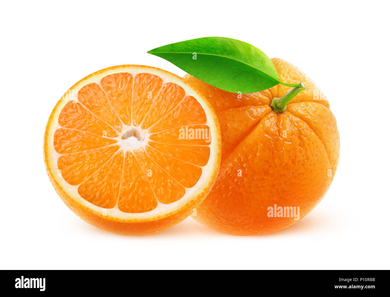 Isolated fruits. One and half oranges isolated on white background with clipping path - Stock Image