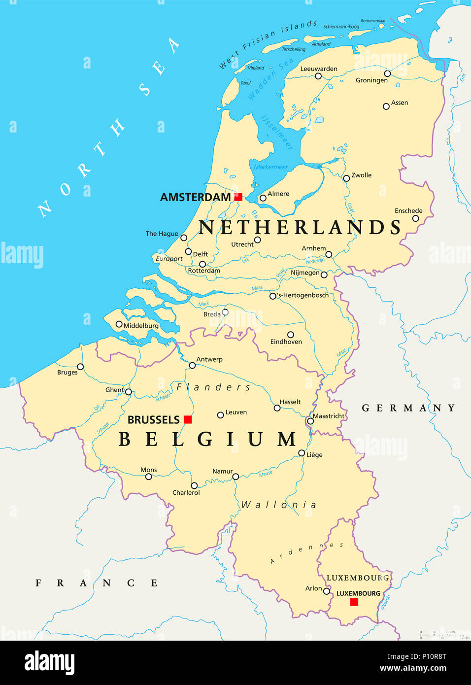 Benelux Belgium Netherlands And Luxembourg Political Map