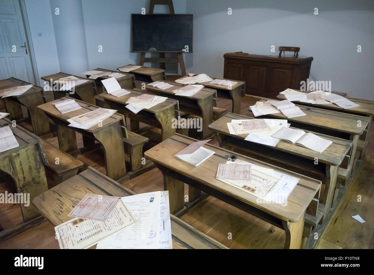 Pre war Polish school class as a part of exhibion in Museum of the Second World War in Gdansk, Poland. January 28th 2017 © Wojciech Strozyk / Alamy St - Stock Image