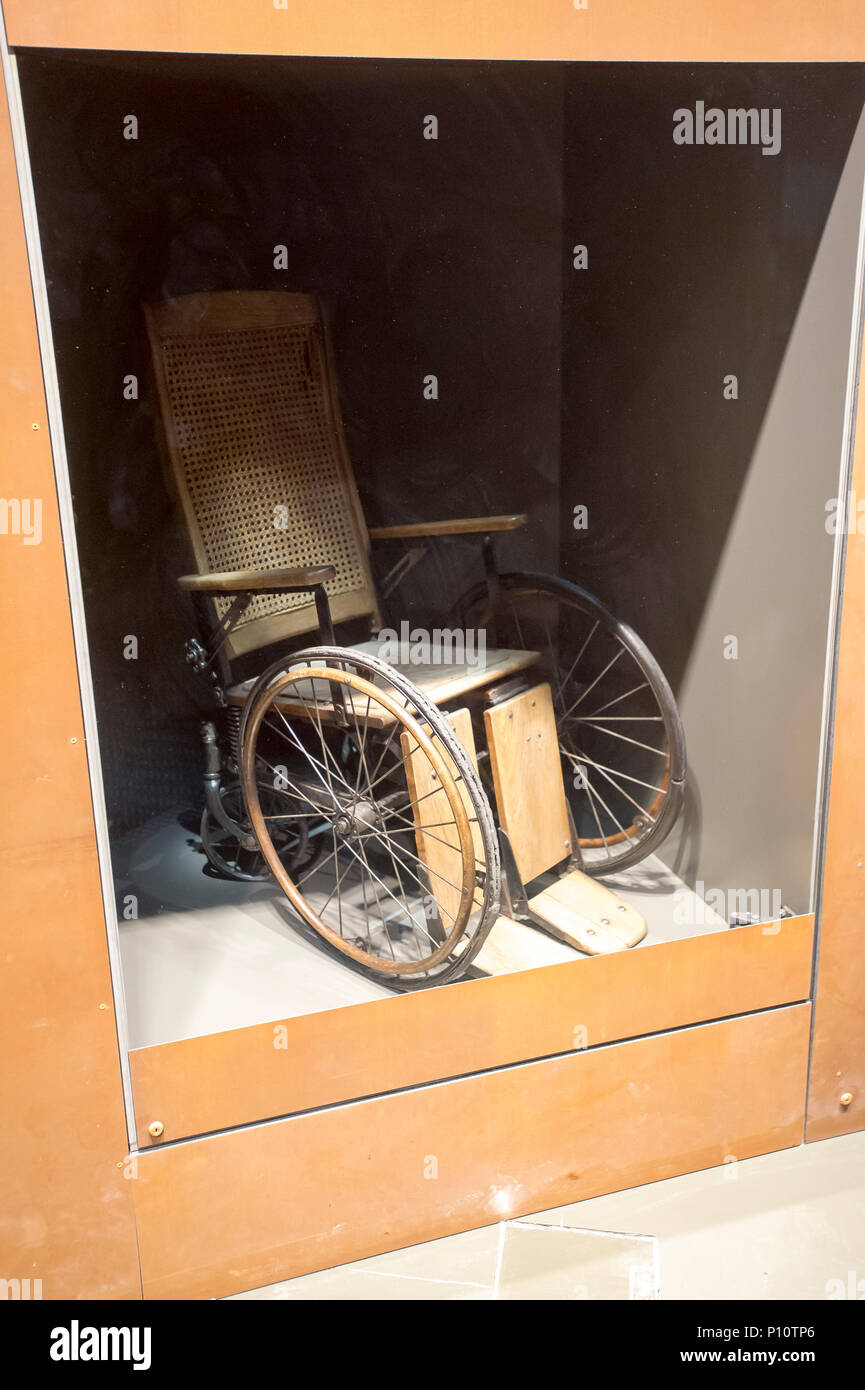 Wheelchair of handicapped children and other patients mentally ill from Kocborowo psychiatric hospital murdered by Nazi German in Aktion T4 in 1939 an - Stock Image