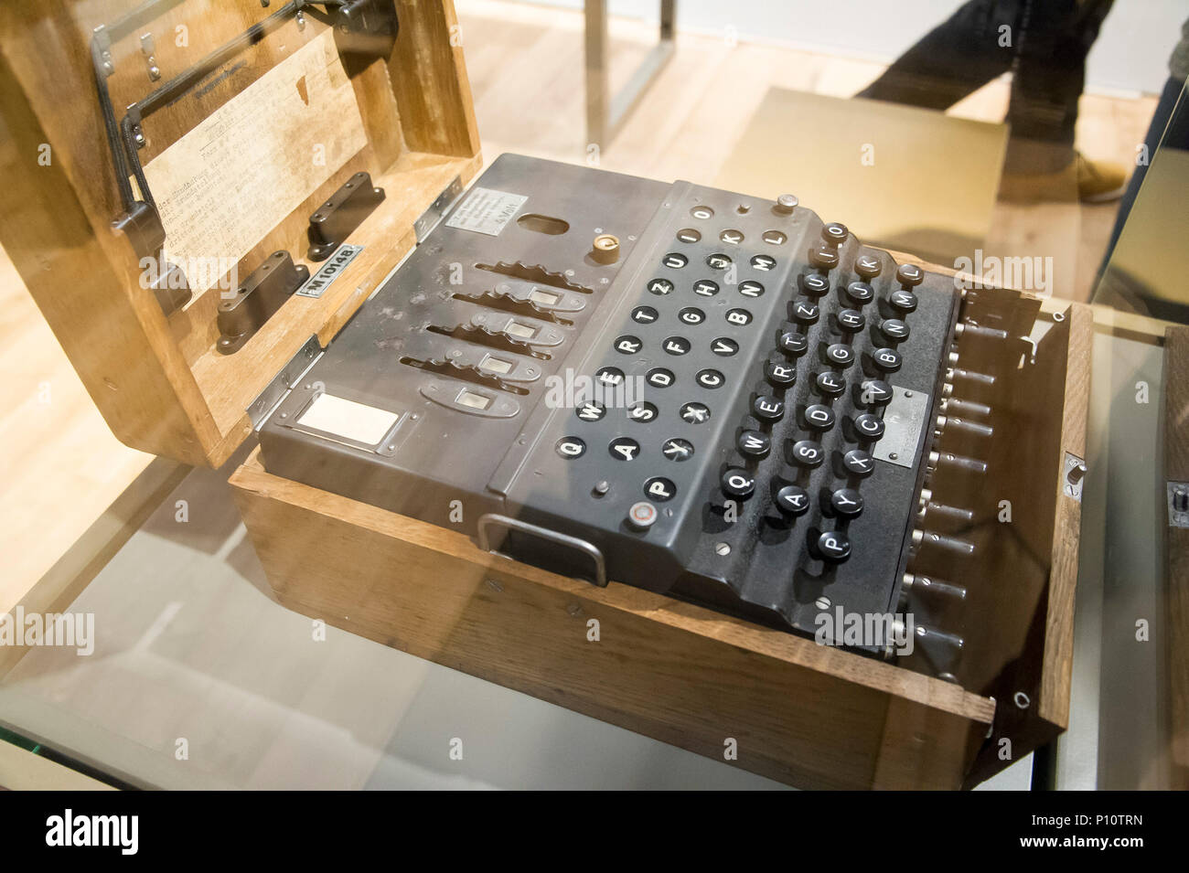 Enigma machine, German electro mechanical rotor cipher machine, used by Nazi German to protect commercial, diplomatic and military communication. Poli Stock Photo