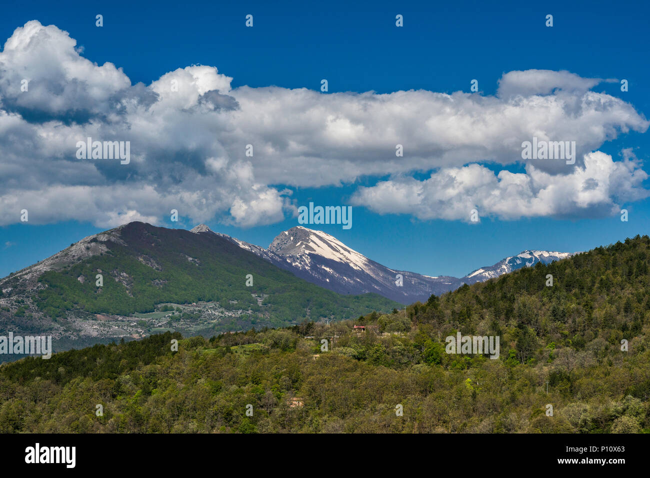 Pollino Massif, view from road 92 near San Lorenzo Bellizzi, Southern Apennines, Pollino National Park, Calabria, Italy - Stock Image
