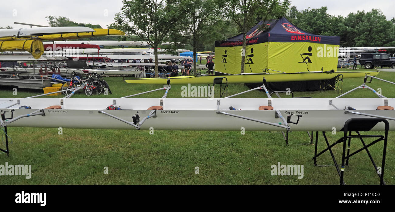 Viola Beach commemorative quad boat, from Warrington Rowing Club, named at Dorney Rowing Centre 25th May 2018 - Stock Image