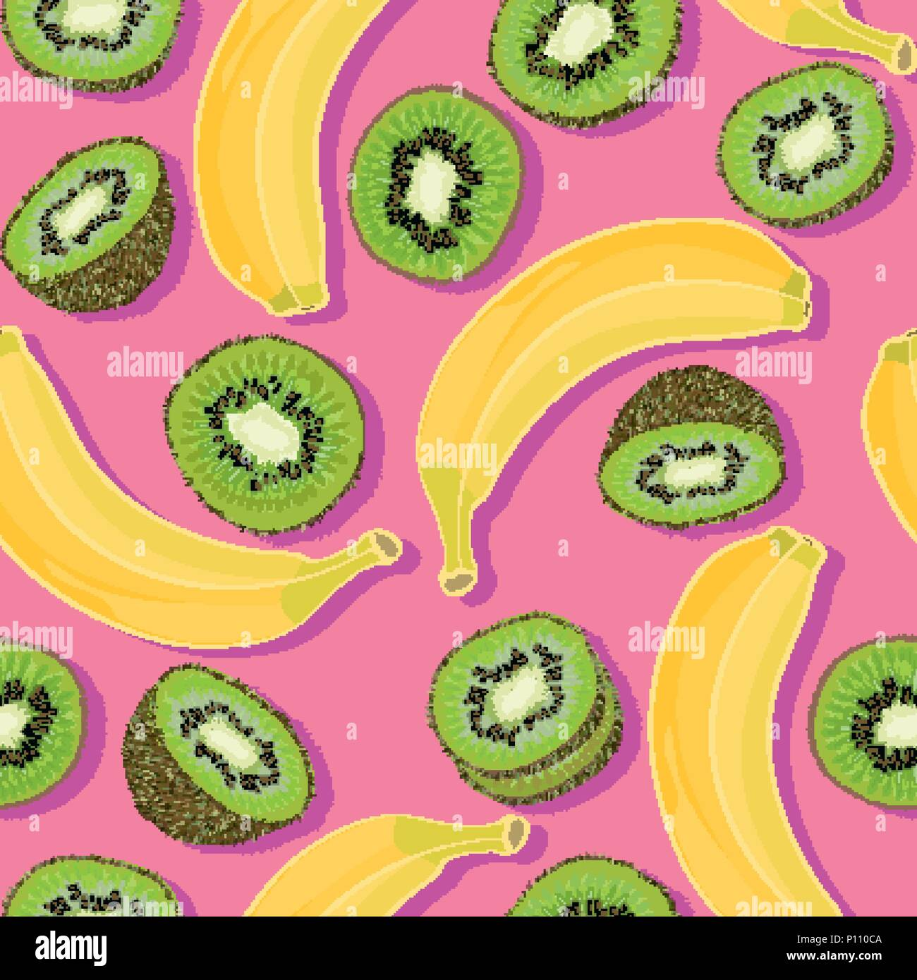 Trendy Minimal Summer Seamless Pattern With Whole Sliced Fresh