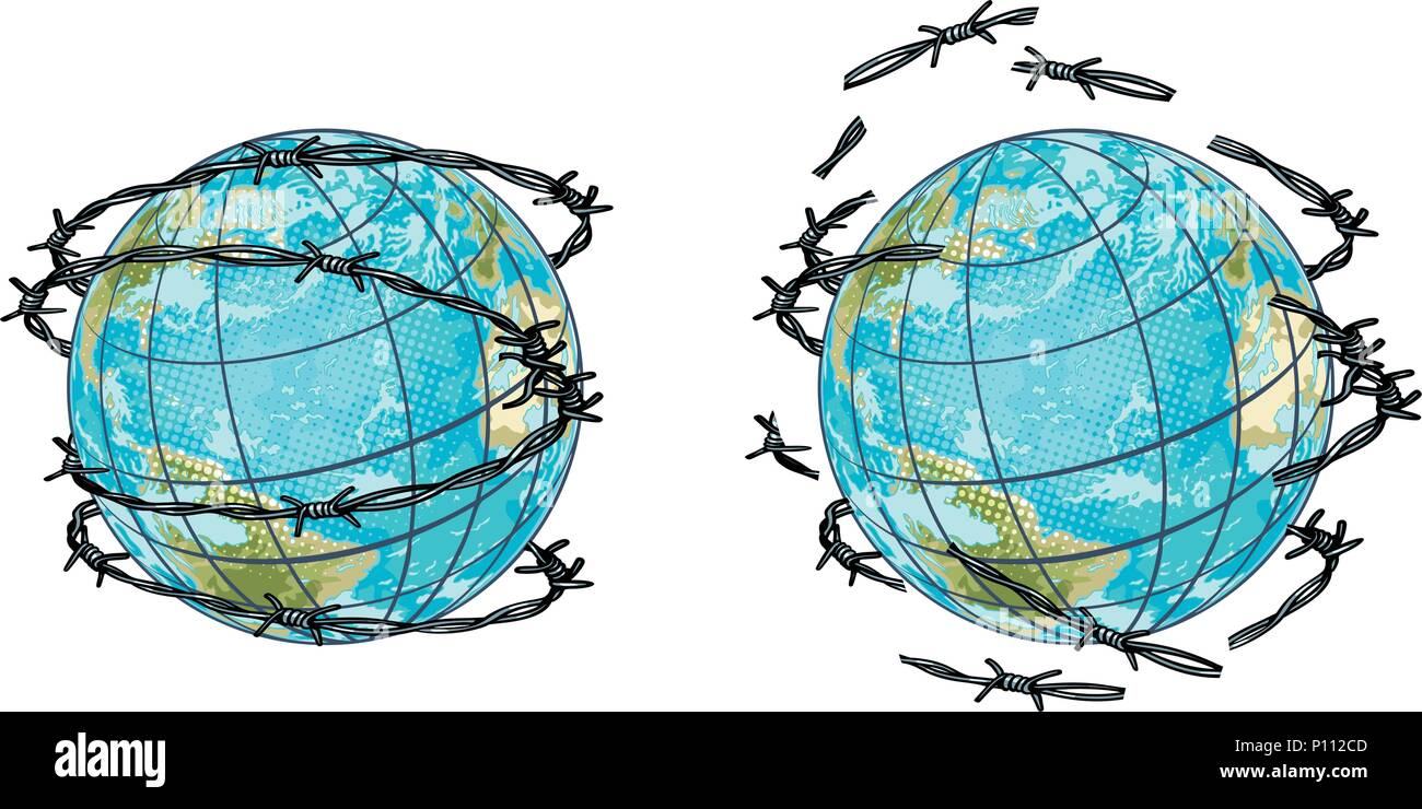 set planet earth in barbed wire and without Stock Vector Art ...