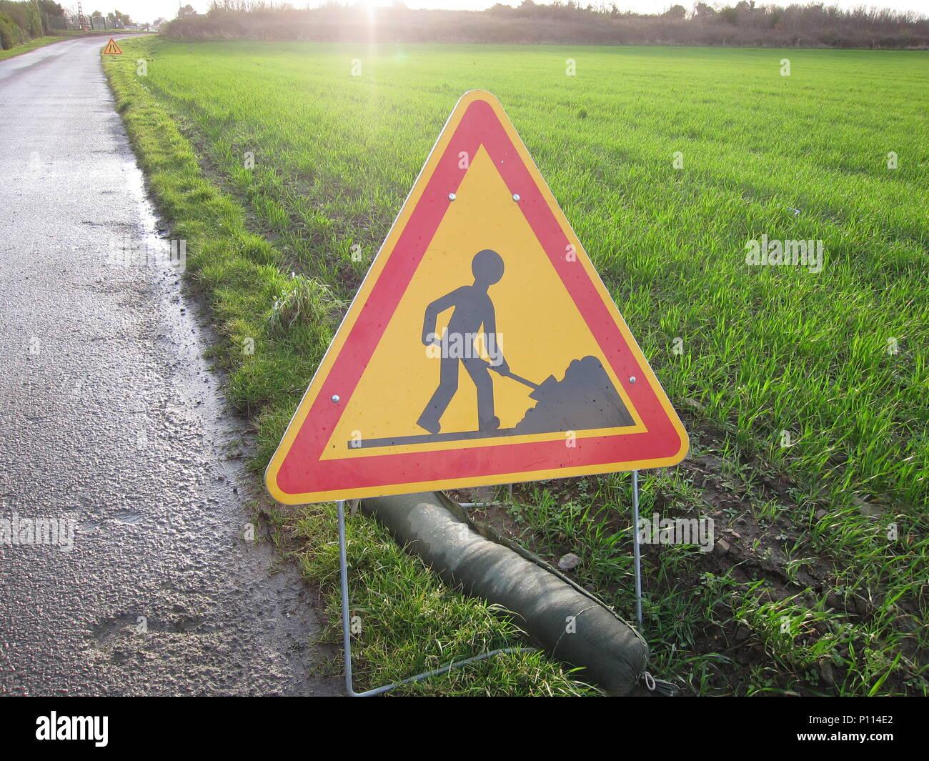 PLERIN, FRANCE 15 MARCH, 2018: Road sign in Plerin on roselier road - Stock Image