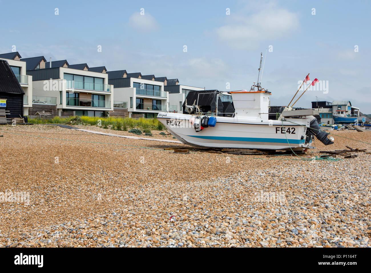 New building development on Fisherman's beach, Hythe, Kent, UK - Stock Image