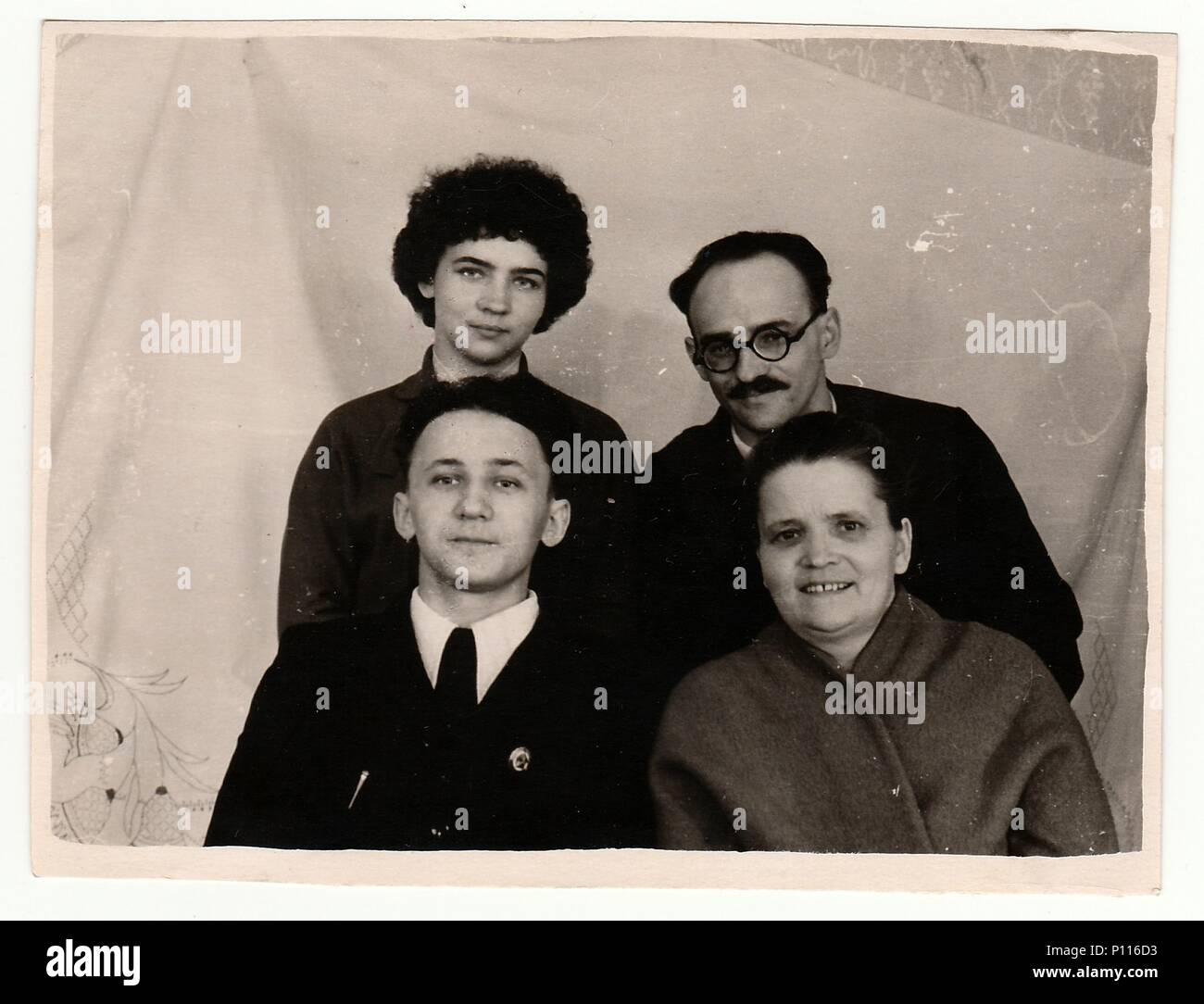 USSR - CIRCA 1970s: Vintage photo of family. Parents and their children. - Stock Image