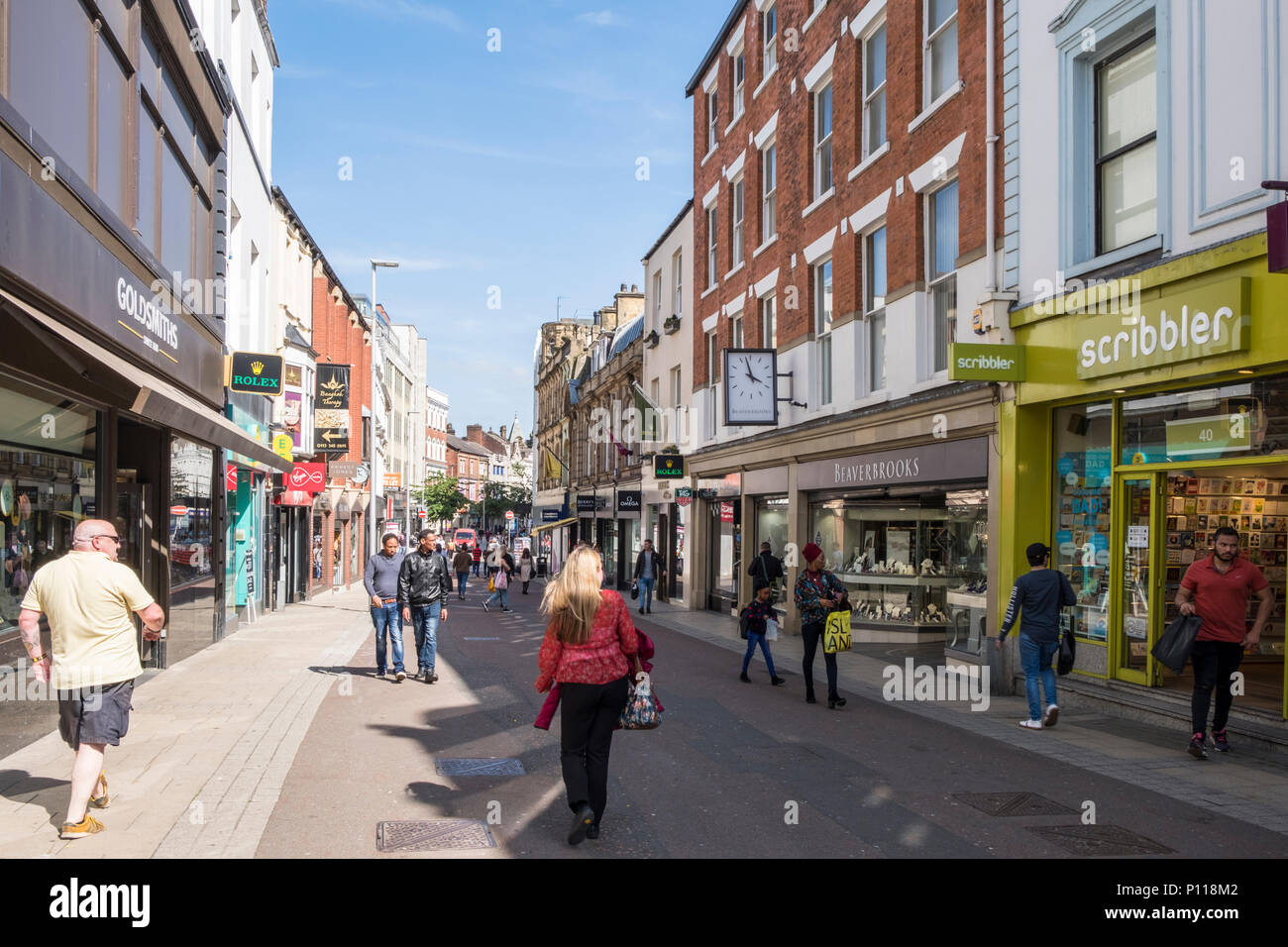 Pedestrianised shopping area. Shoppers on Commercial Street in Leeds city centre, West Yorkshire, England, UK - Stock Image