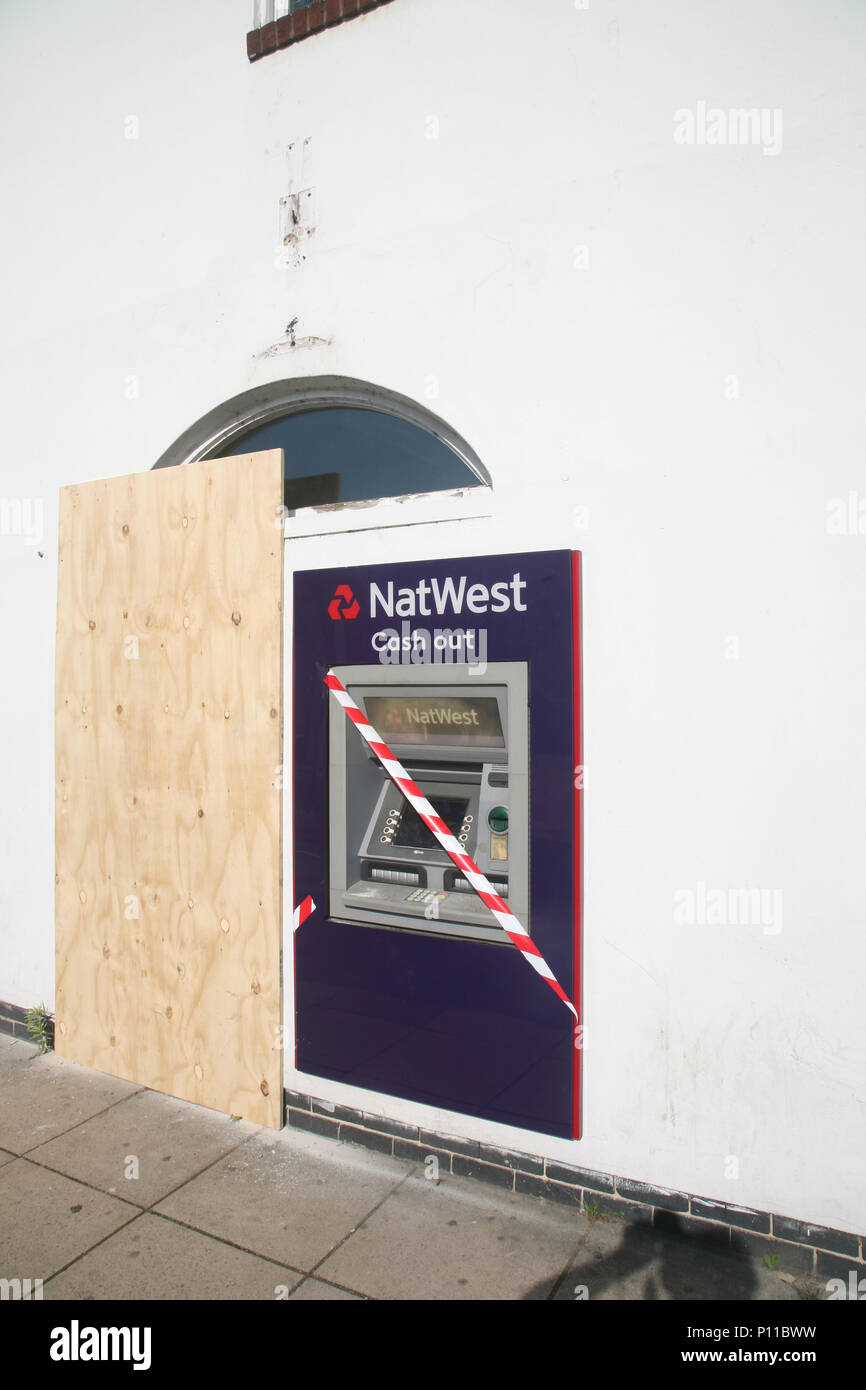 One of the many UK local bank closures is this Nat West Bank in Bawtry. It also means that local residents loose this cash point service. Stock Photo