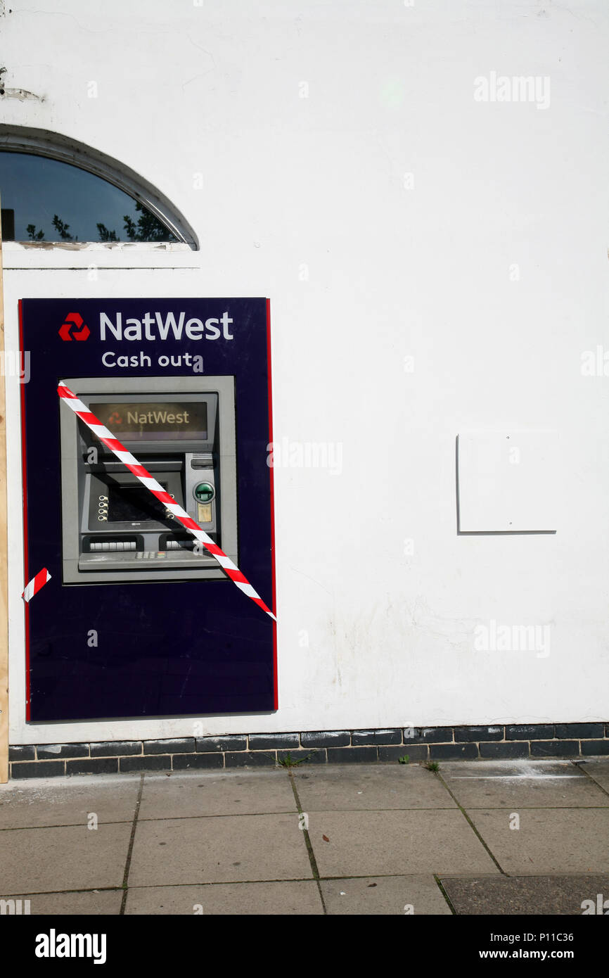 One of the many UK local bank closures is this Nat West Bank in Bawtry. It also means that local residents loose this cash point service. - Stock Image