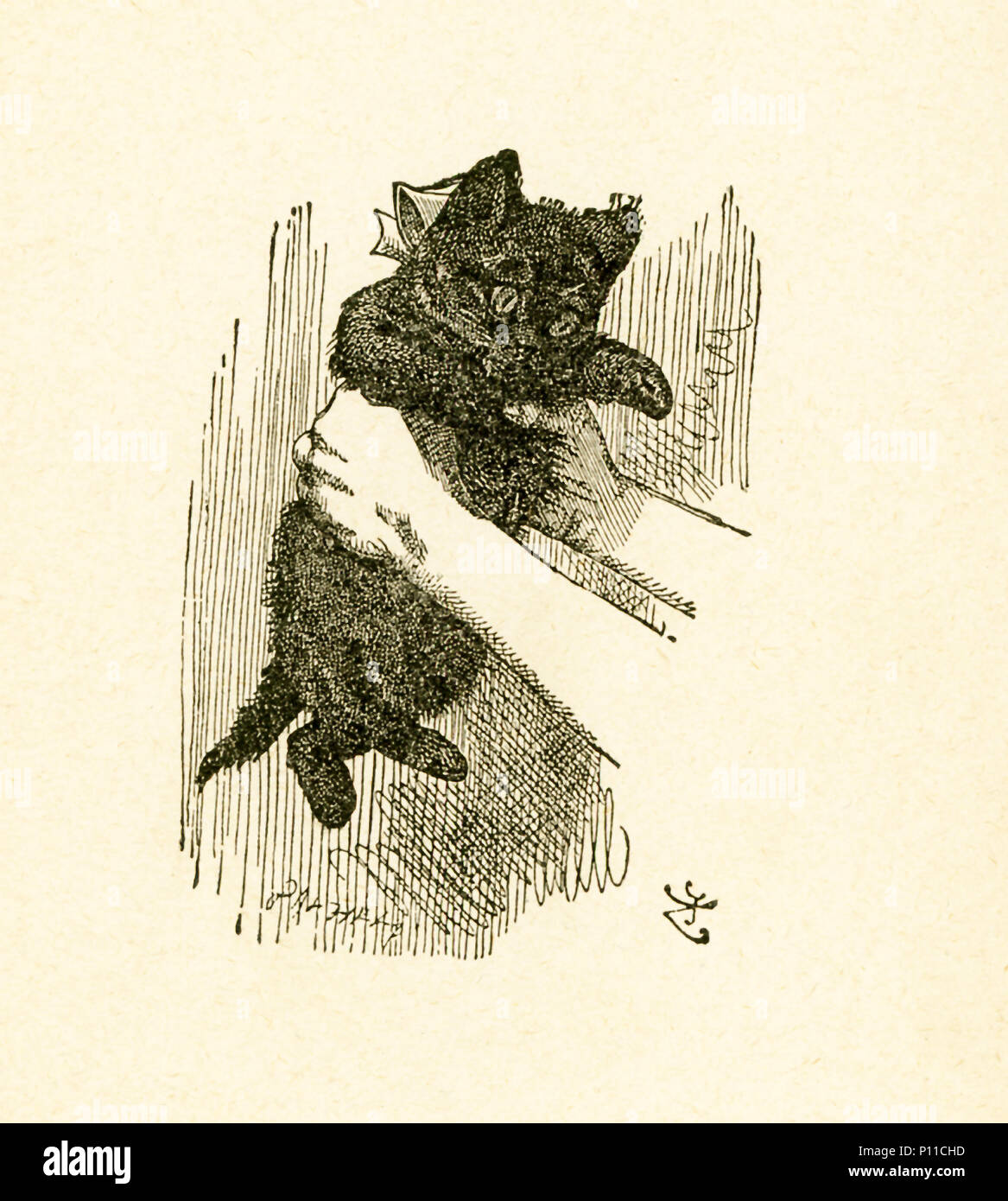 This illustration of Alice holding a red kitten is from 'Through the Looking-Glass and What Alice Found There' by Lewis Carroll (Charles Lutwidge Dodgson), who wrote this novel in 1871 as a sequel to 'Alice's Adventures in Wonderland.' - Stock Image
