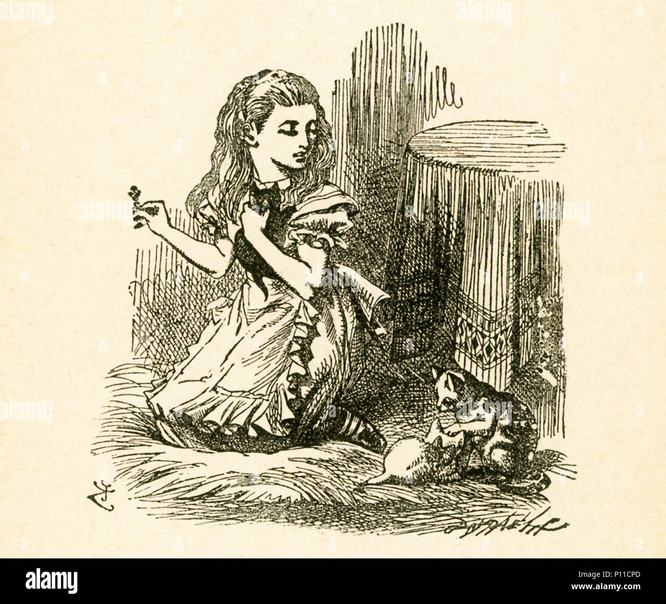 This illustration showing Alice back home and playing with kittens is from 'Through the Looking-Glass and What Alice Found There' by Lewis Carroll (Charles Lutwidge Dodgson), who wrote this novel in 1871 as a sequel to 'Alice's Adventures in Wonderland.' - Stock Image