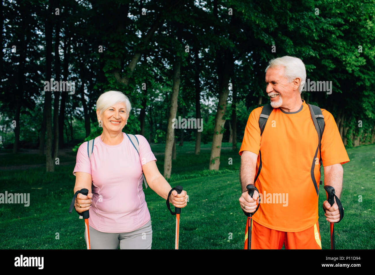 Seniors, hiking and active lifestyles - Stock Image