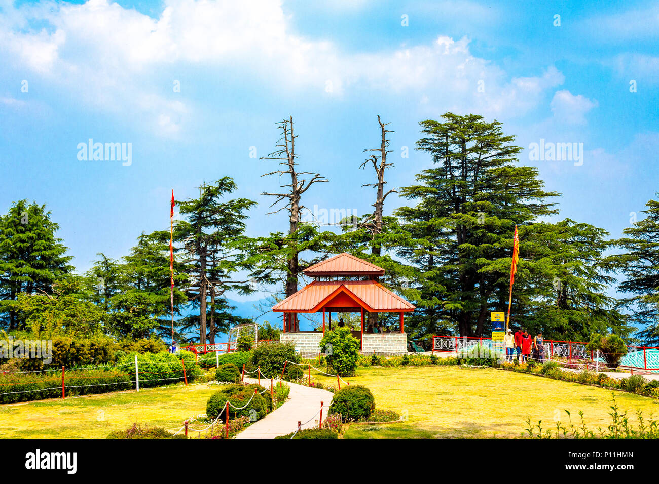 Inside premises of Jakhu temple in Shimla, Himachal Pradesh, India. - Stock Image