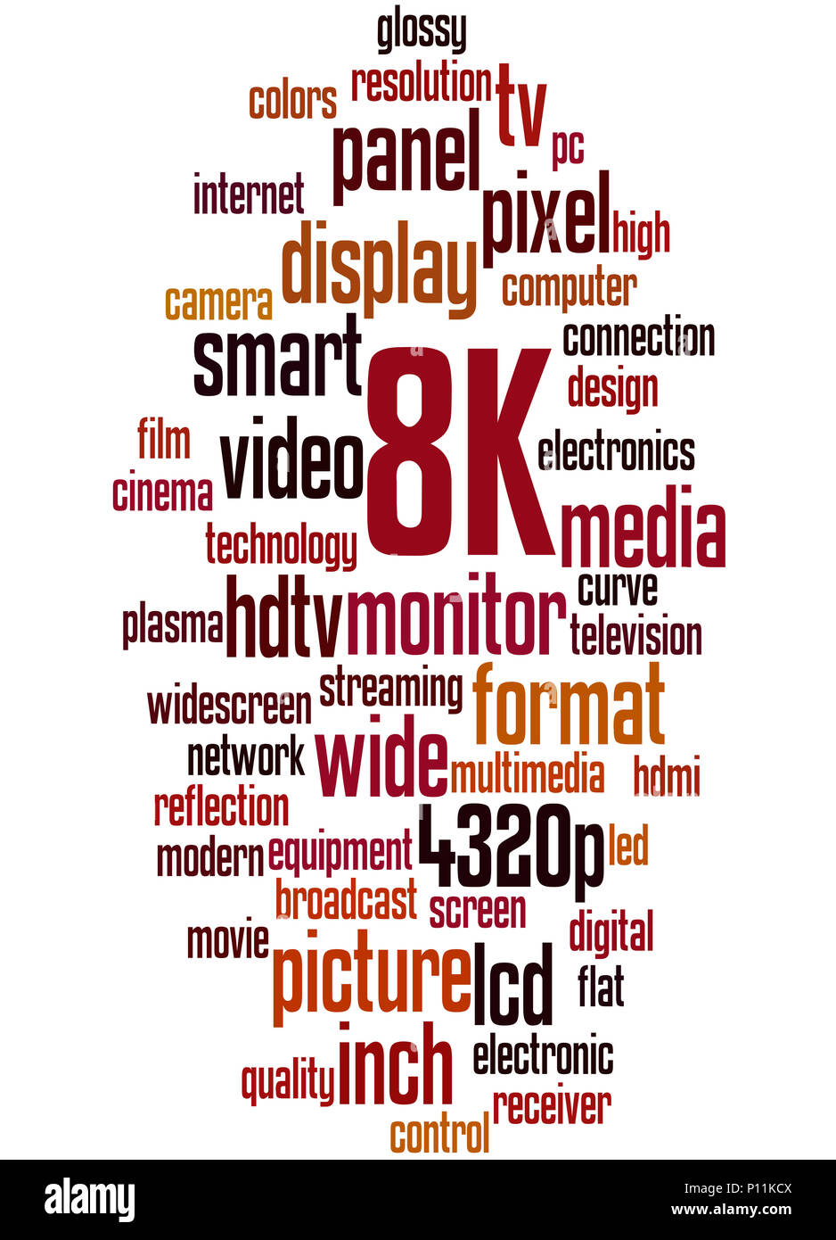 8K screen resolution, word cloud concept on white background. - Stock Image