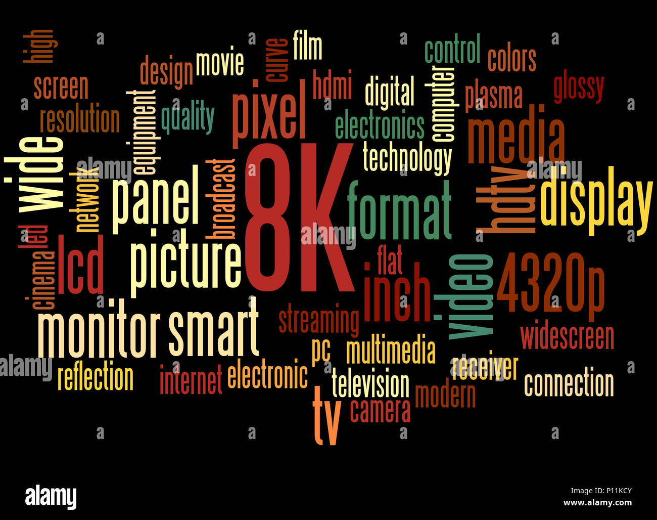 8K screen resolution, word cloud concept on black background. - Stock Image