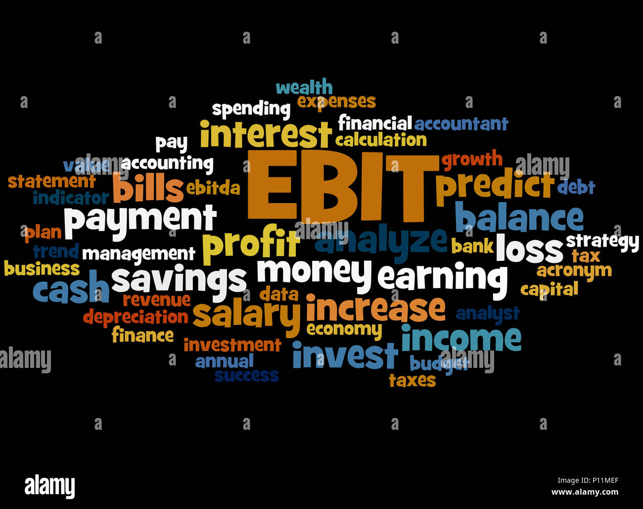 EBIT earnings before interest and taxes, word cloud concept on black