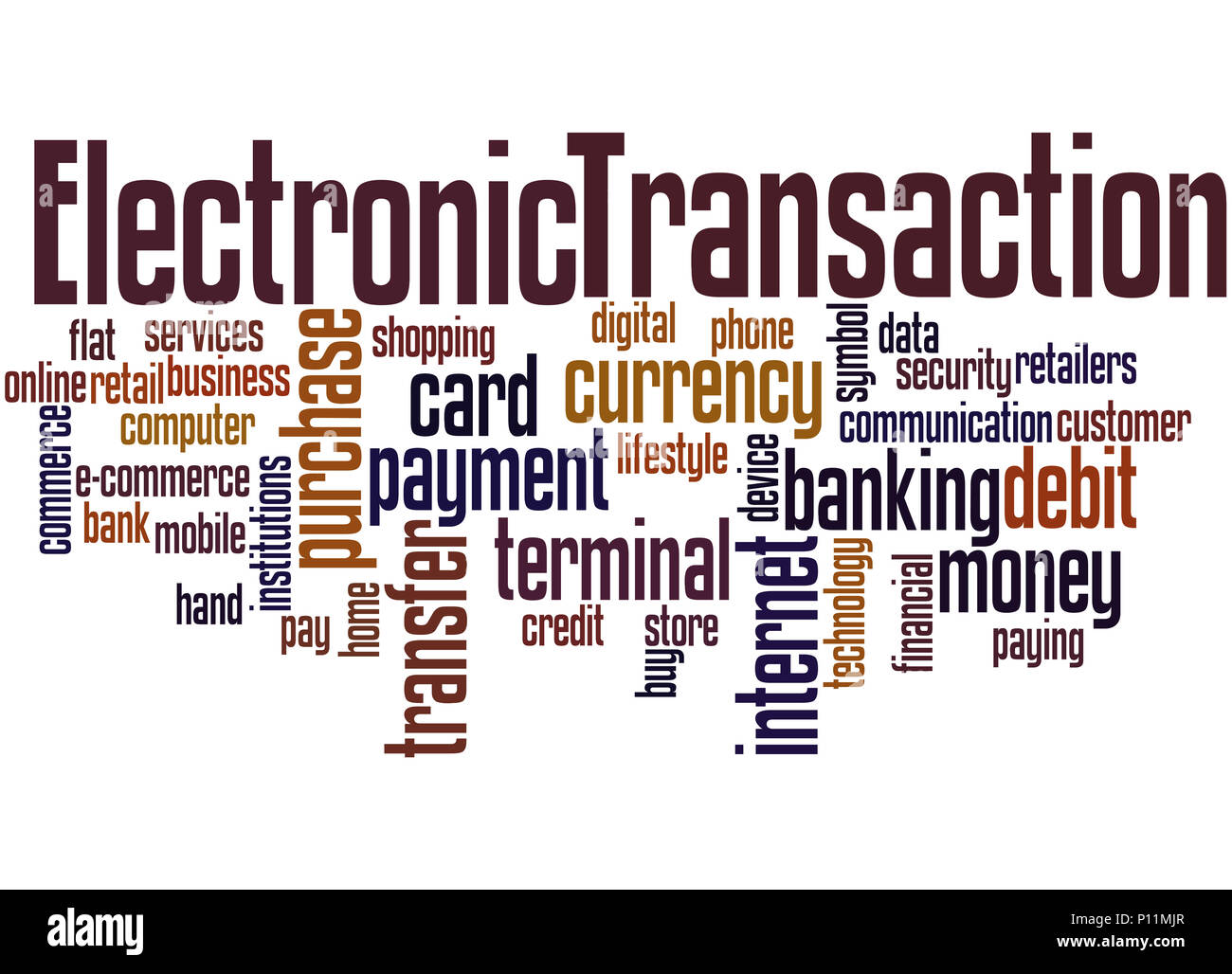 Electronic Transaction, word cloud concept on white background. - Stock Image