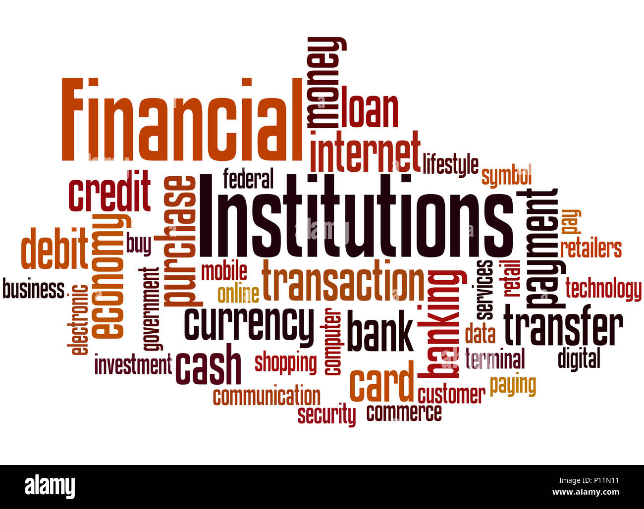 Financial Institutions, word cloud concept on white background. Stock Photo