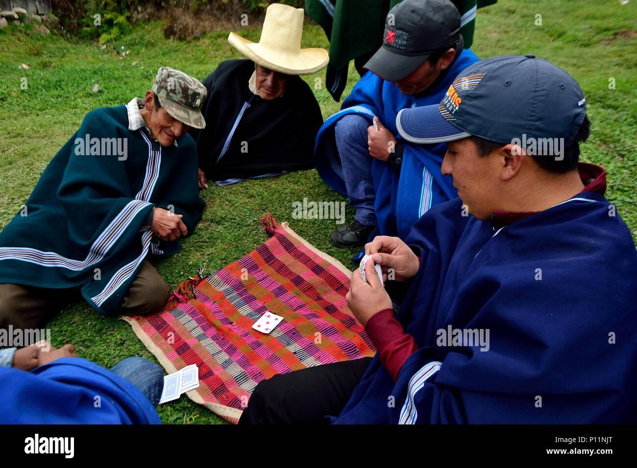 Playing cards in HUARHUAR ' Las Huaringas '  - HUANCABAMBA.. Department  of Piura .PERU                  - Stock Image