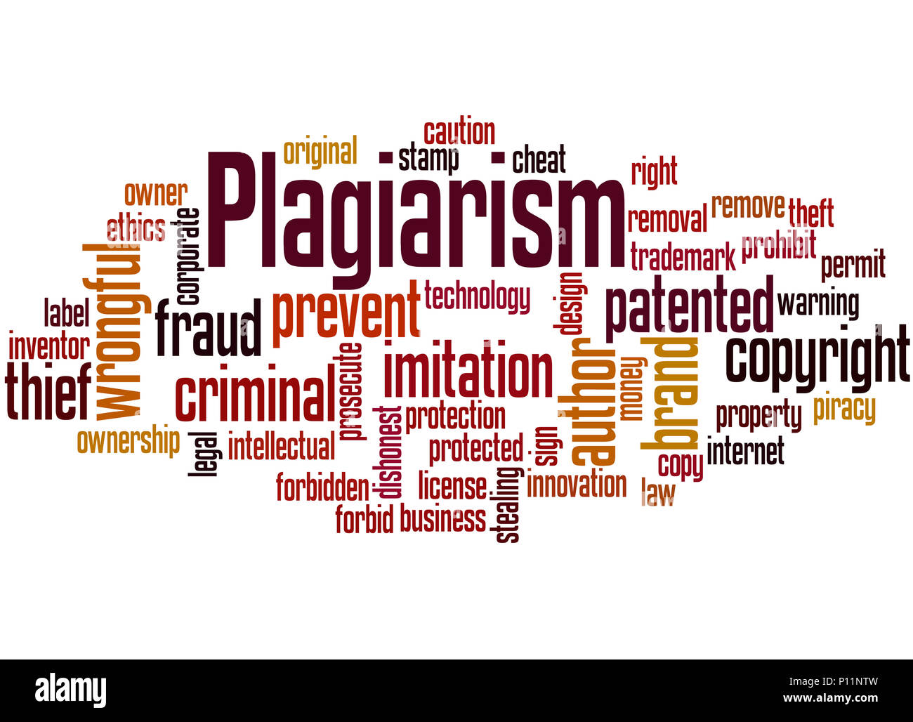 Plagiarism, word cloud concept on white background. - Stock Image