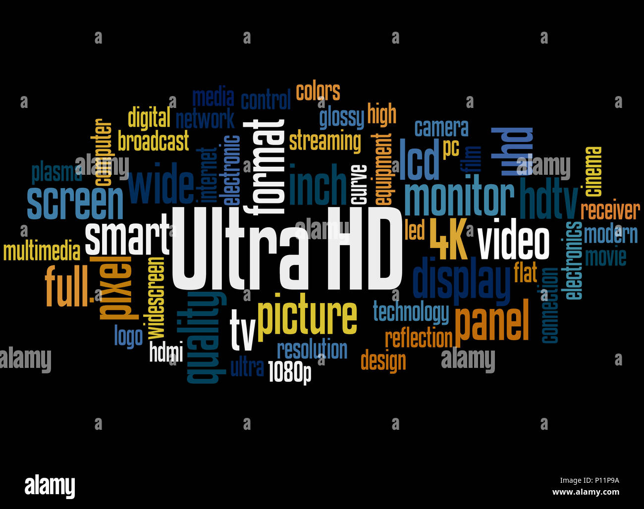 Ultra HD, word cloud concept on black background. - Stock Image