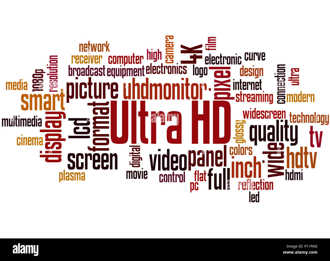 Ultra HD, word cloud concept on white background. - Stock Image