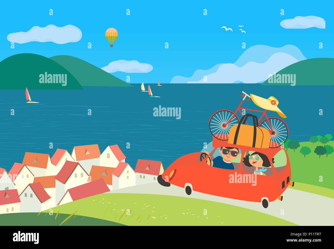 Travelling by car - Stock Vector