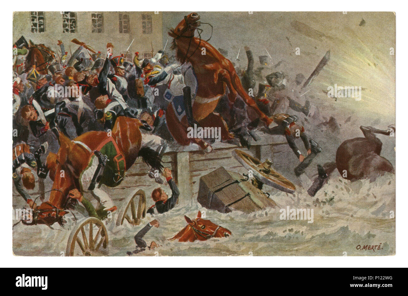 German historical postcard: The explosion of the bridge of the Elster full the retreating French troops.  Battle of Leipzig, October 19, 1813, Germany - Stock Image