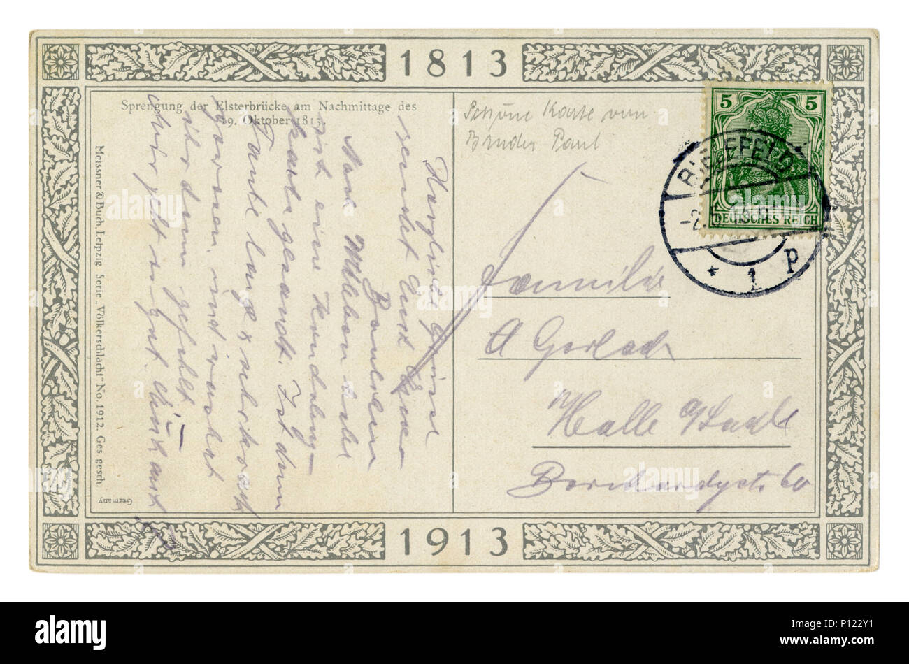 Back of historical German postcard (P122WG) letter written in pencil, 100th anniversary of the battle of the Nations 1813-1913 with stamp and postmark - Stock Image