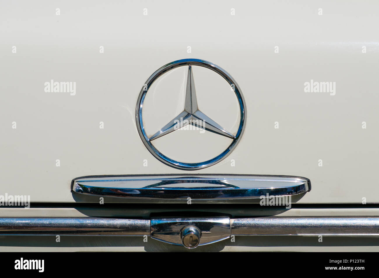 Berlin, Germany- june 09, 2018: Car design detail and  Mercedes Benz star   logo / emblem closeup on trunk of a oldtimer automobile - Stock Image