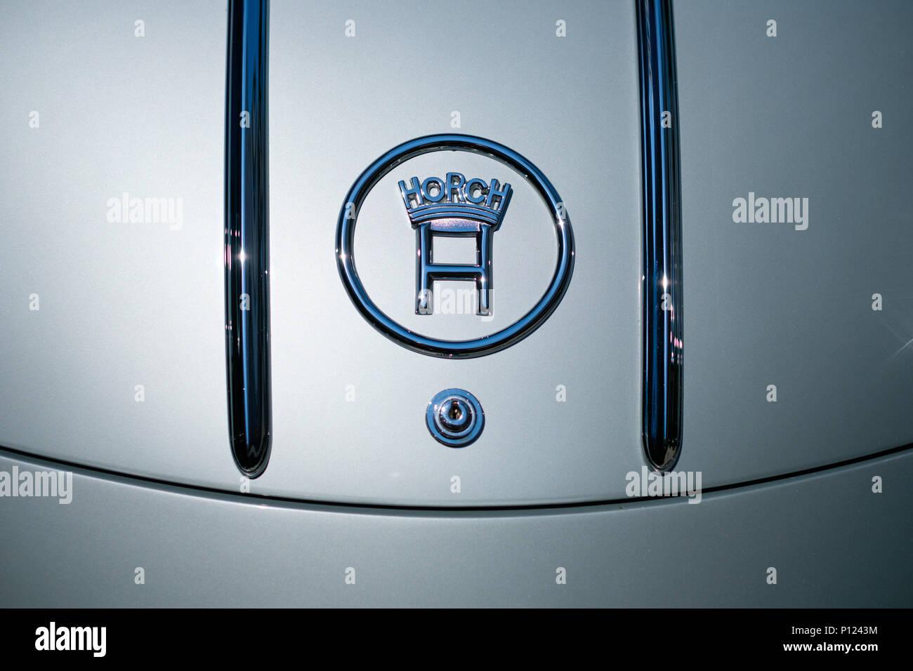 Berlin, Germany - june 09, 2018: Horch logo / brand name on oldtimer car trunk closeup - Stock Image