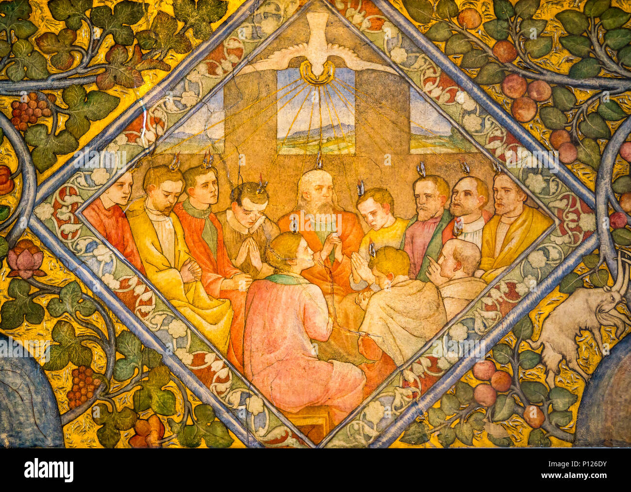 Pentecost scene disciples with tongues of fire, Holy Spirit as a dove by Phoebe Anna Traquair, Mansfield Traquair Centre, Edinburgh, Scotland, UK - Stock Image