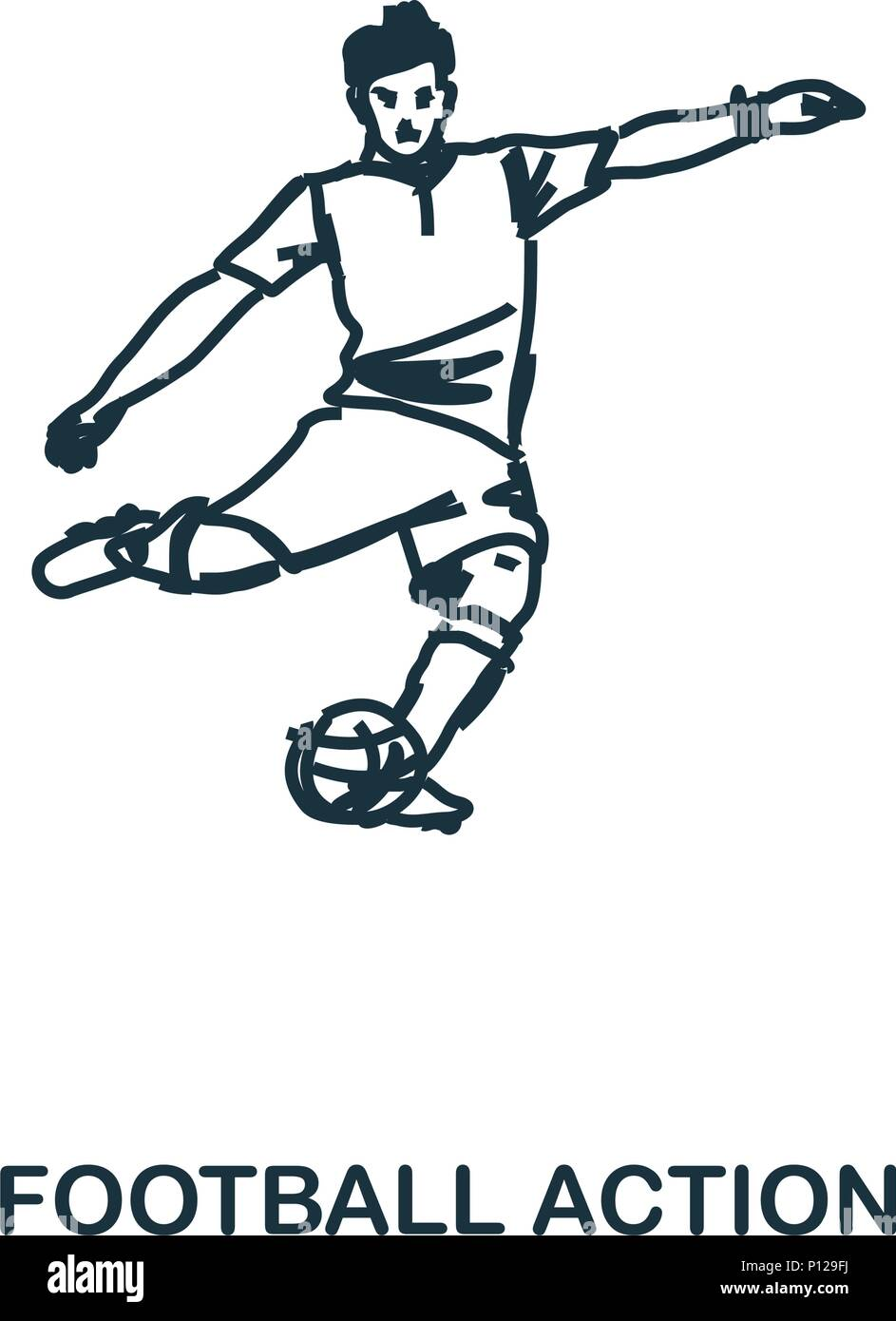 Football Player icon. Mobile apps, printing and more usage. Simple element sing. Monochrome Football Player icon illustration. - Stock Image