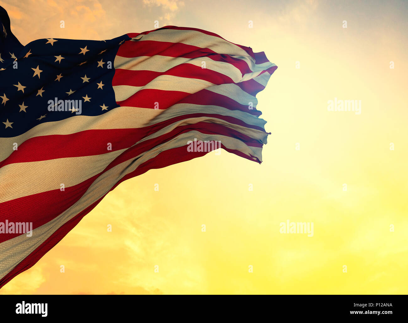 American flag as background, closeup. National symbol - Stock Image