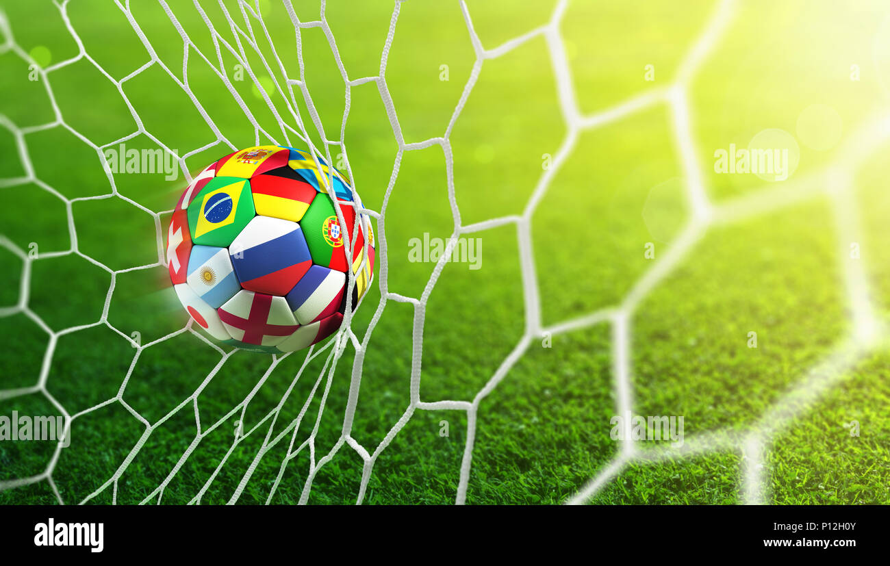 Soccer Ball In Goal With Sunlight - Stock Image