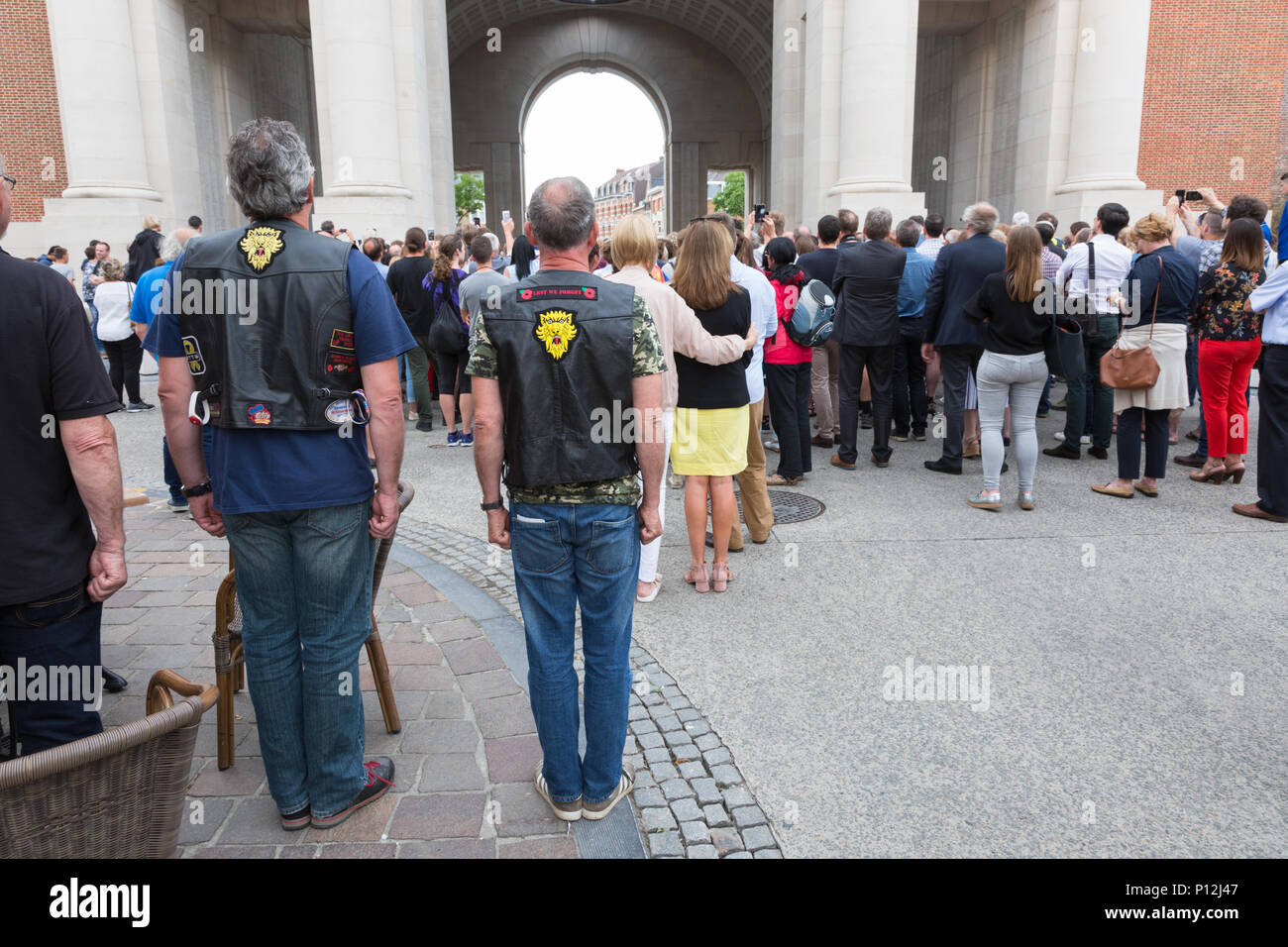 Two bikers stand to attention during the daily menin gate ceremony, Ypres, Belgium - Stock Image