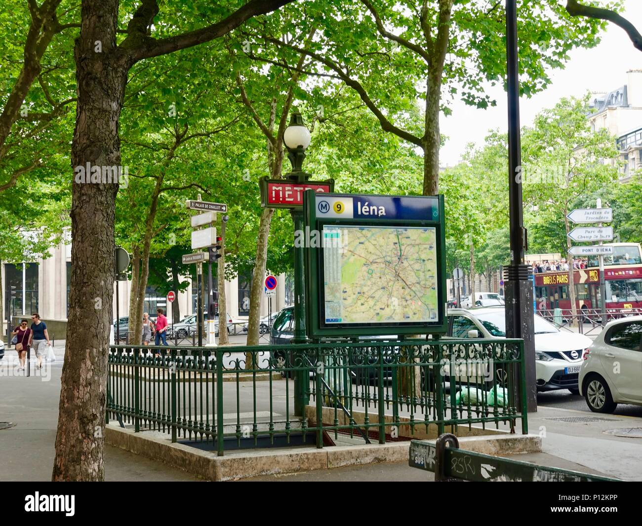 Metro entrance at Place d'Iena, with map of the area, Paris, France Stock Photo