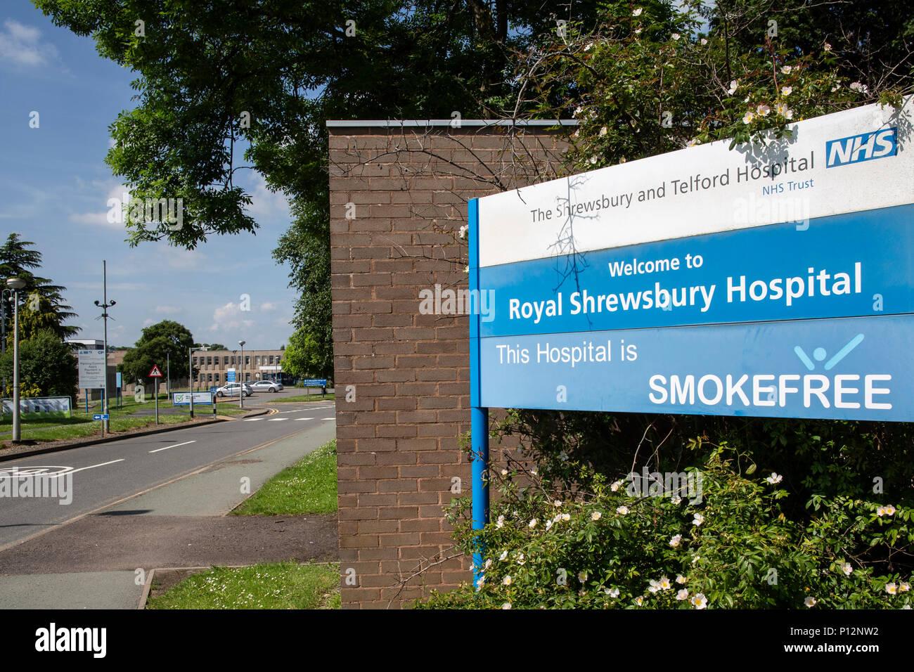 The Royal Shrewsbury Hospital in Shrewsbury Shropshire UK and NHS hospital serving Shropshire, west midlands and Wales - Stock Image
