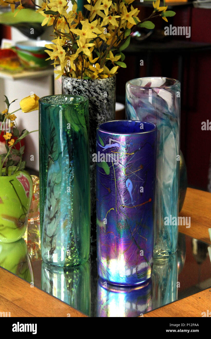 Colorful decorative glass vases stock image