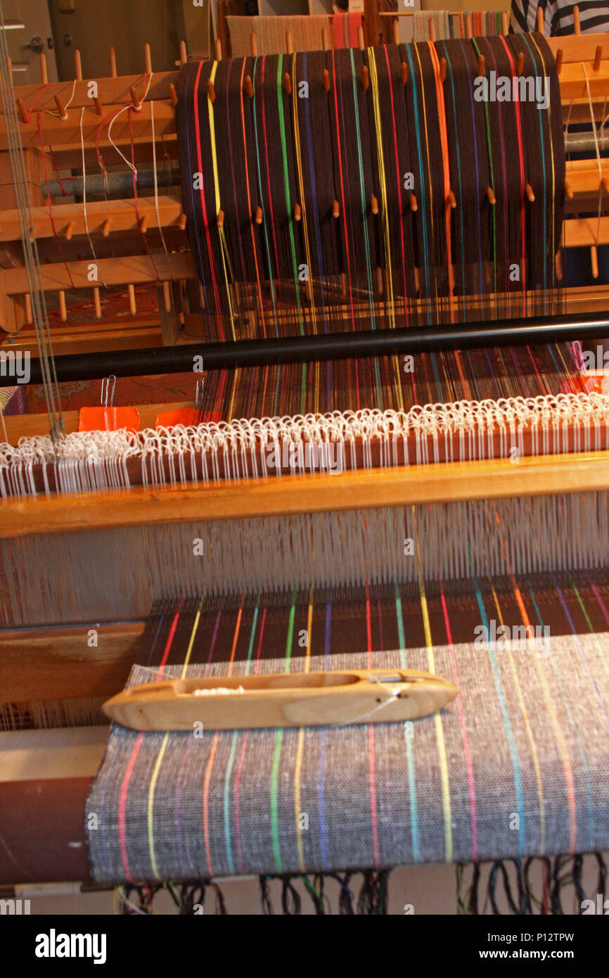 Traditional weaving machine. Loom. - Stock Image