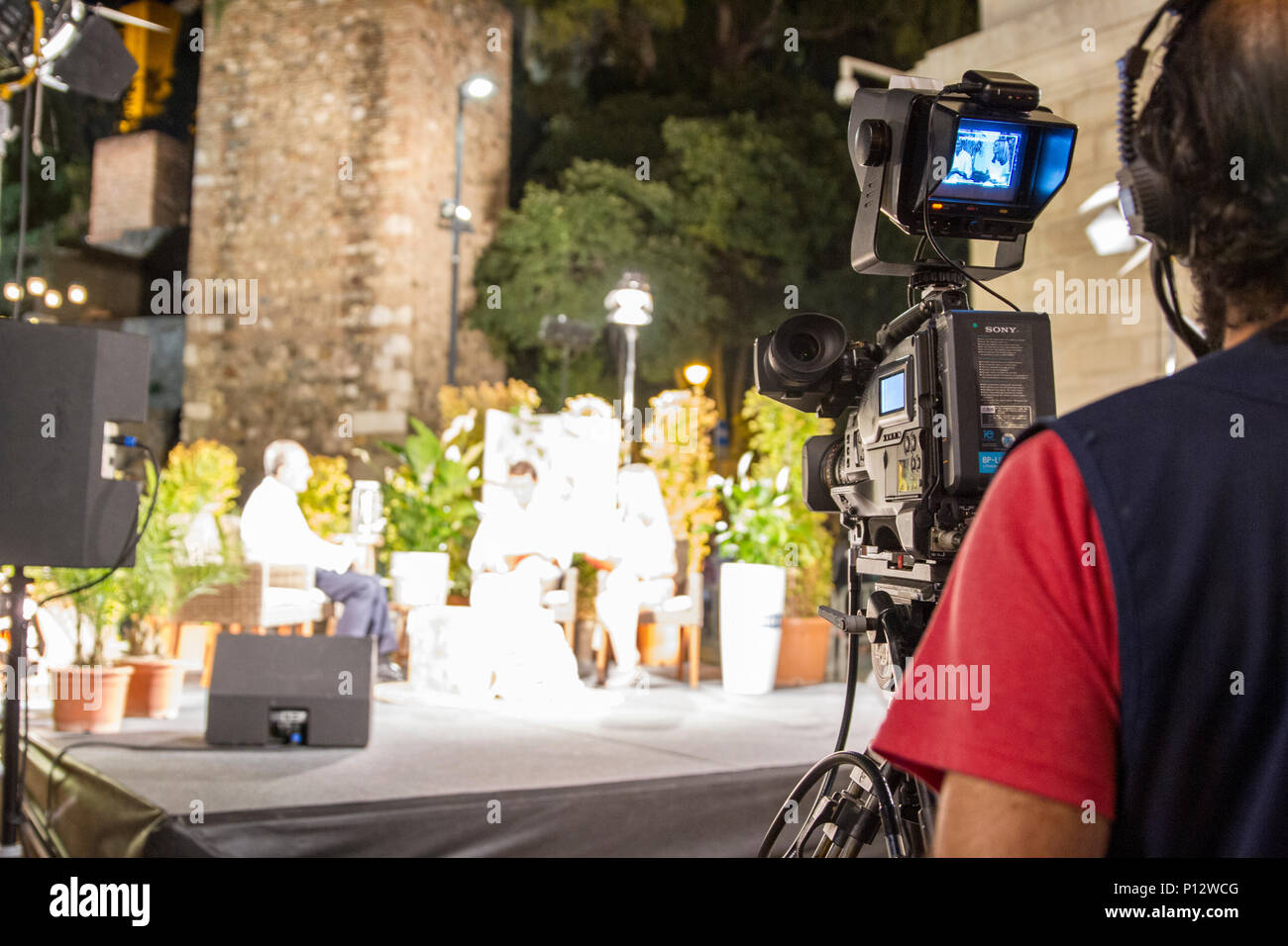 TV Talk Show Set - Camera & Production - Stock Image