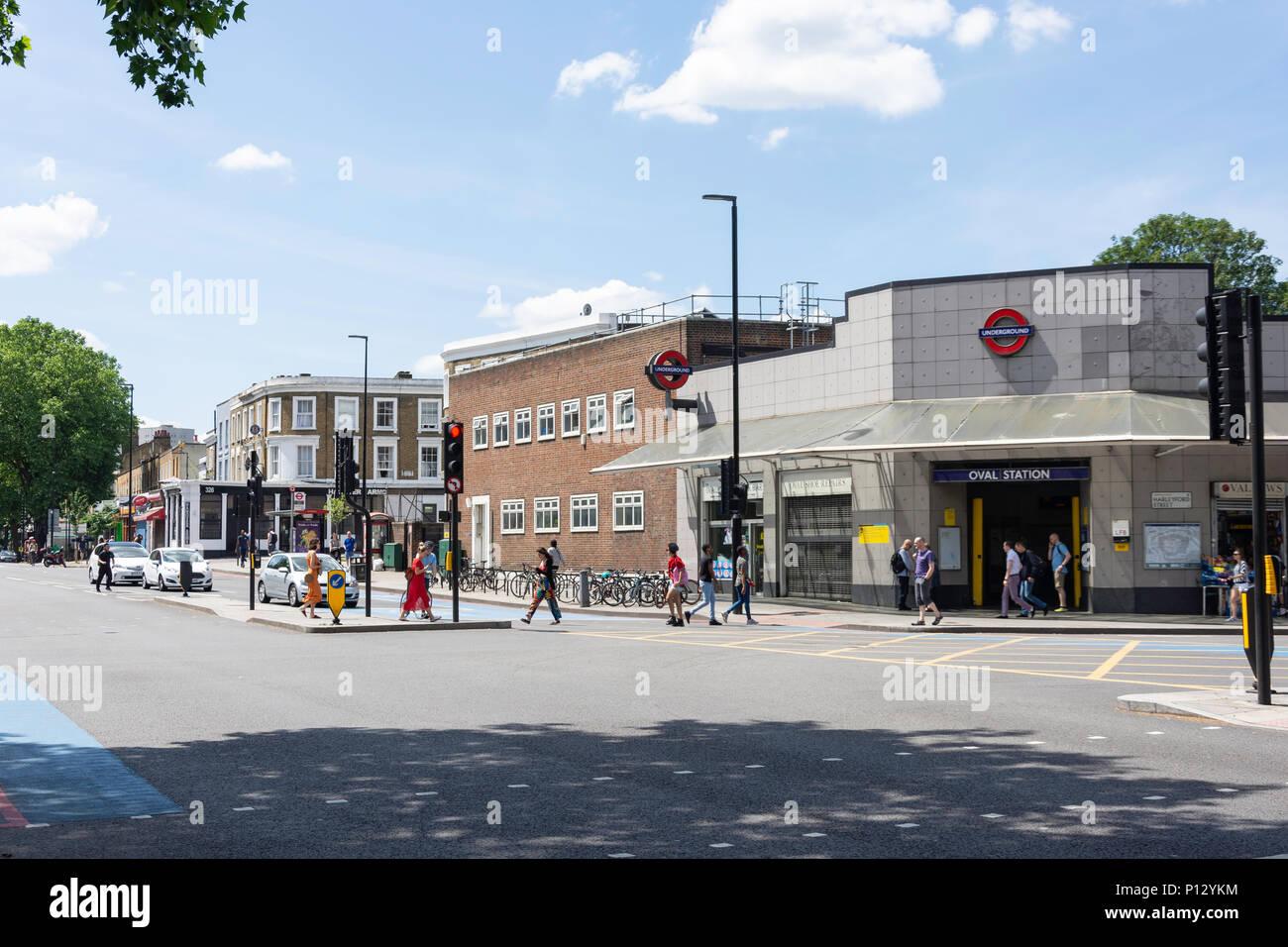 Oval Underground Station, Clapham Road, Kennington, London Borough of Lambeth, Greater London, England, United Kingdom - Stock Image
