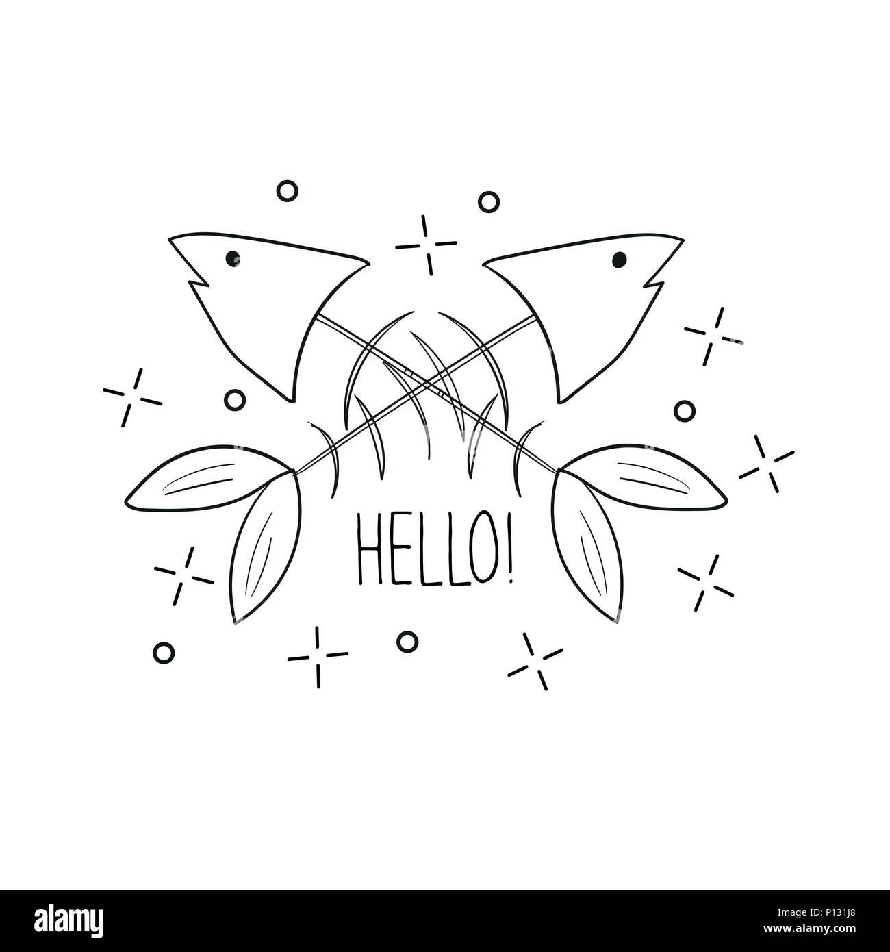 Hand drawn fish skeleton. Sketch style. Vector illustration. T-shirt print - Stock Image